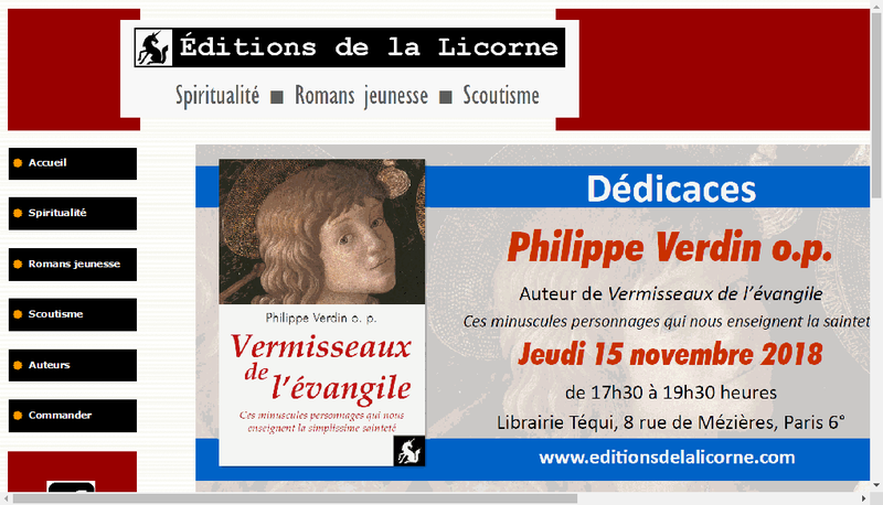 Site internet de Editions de la Licorne