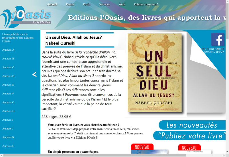 Capture d'écran du site de Editions l'Oasis