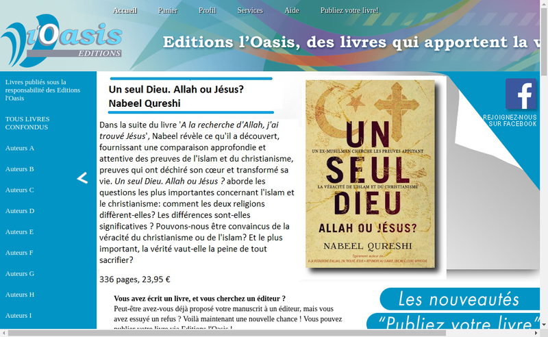 Capture d'écran du site de Editions l'Oasis
