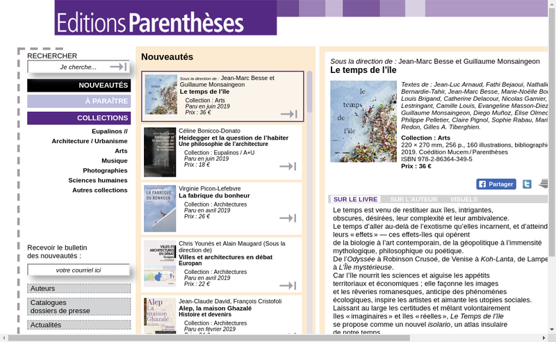 Capture d'écran du site de Editions Parentheses SARL