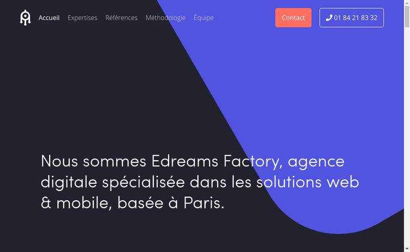 Capture d'écran du site de Edreams Factorys