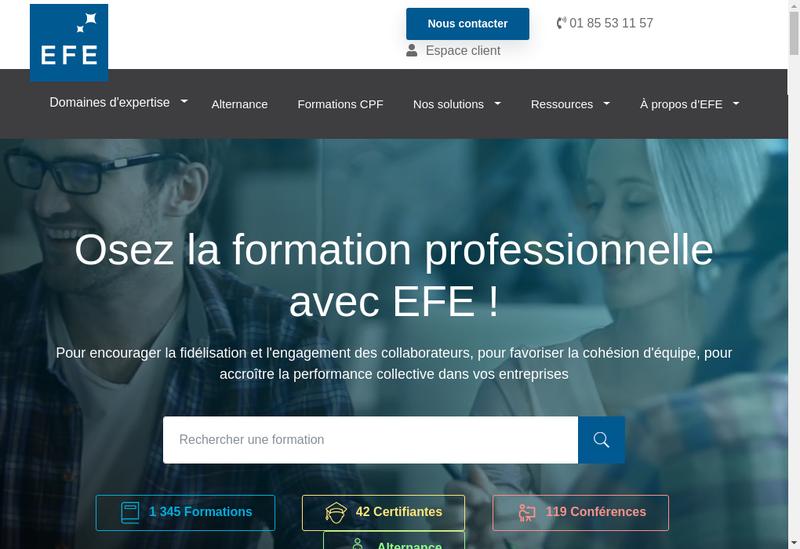 Capture d'écran du site de Efe Formation