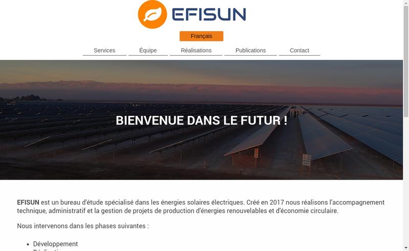 Capture d'écran du site de Efisun