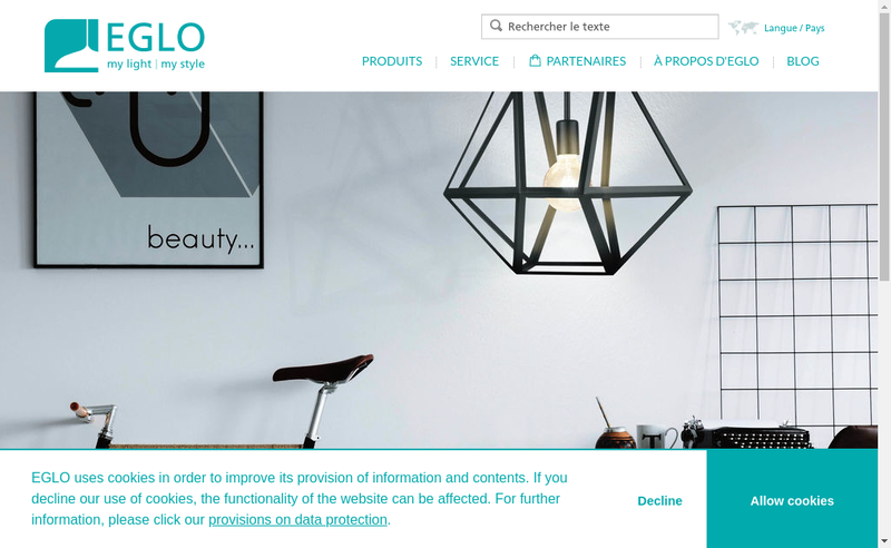 Capture d'écran du site de Eglo France Luminaire