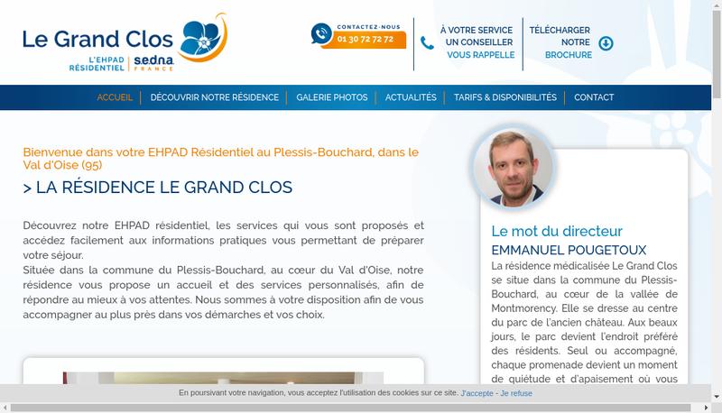 Capture d'écran du site de Residence le Grand Clos