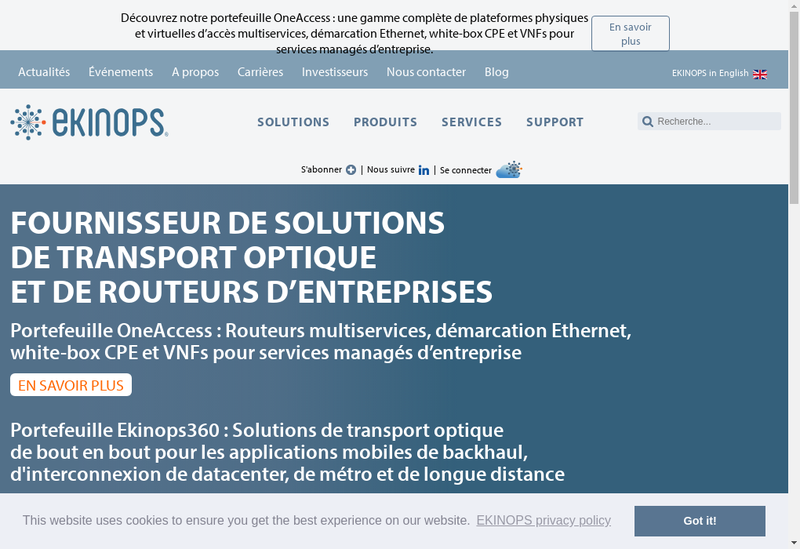 Capture d'écran du site de Ekinops