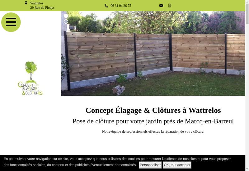 Capture d'écran du site de Concept Elagage & Clotures