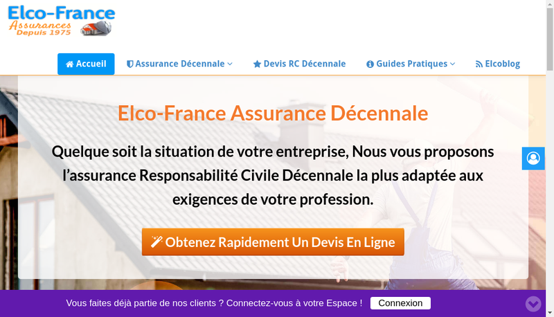 Capture d'écran du site de Elco France