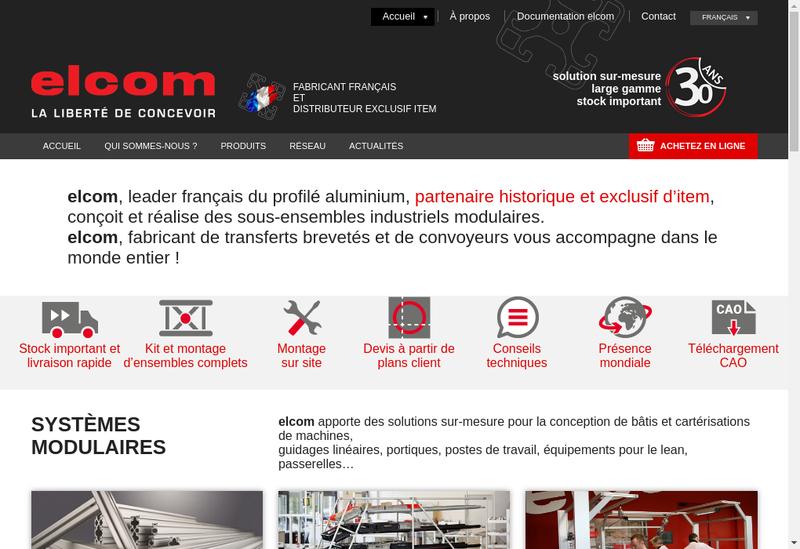 Capture d'écran du site de Elcom