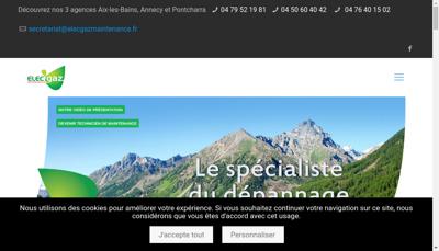 Capture d'écran du site de Elec Gaz Maintenance