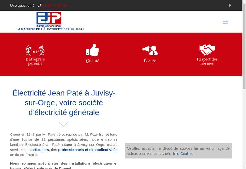 Capture d'écran du site de Electricite Jean Pate