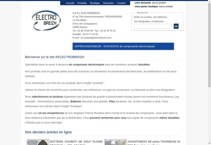 Capture d'écran du site de Electrobreizh