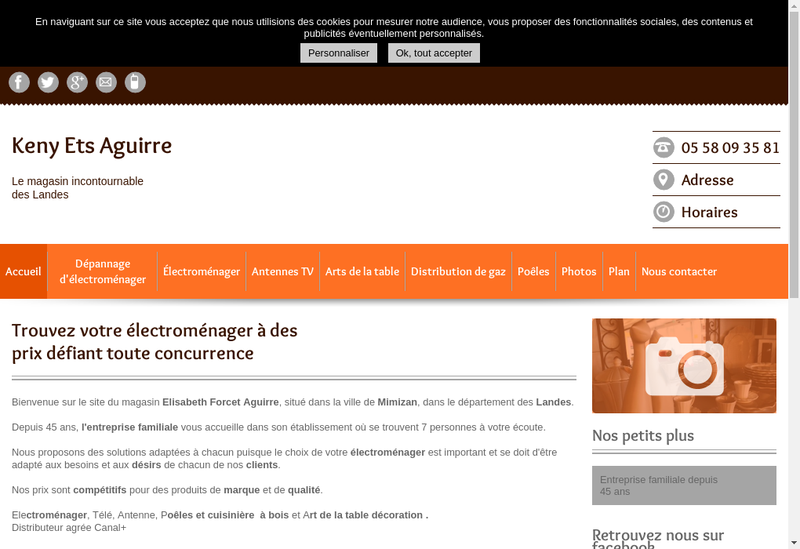 Capture d'écran du site de Ets Aguirre