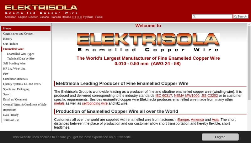 Capture d'écran du site de Elektrisola France
