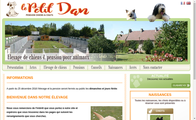 Capture d'écran du site de SARL du Petit Dan