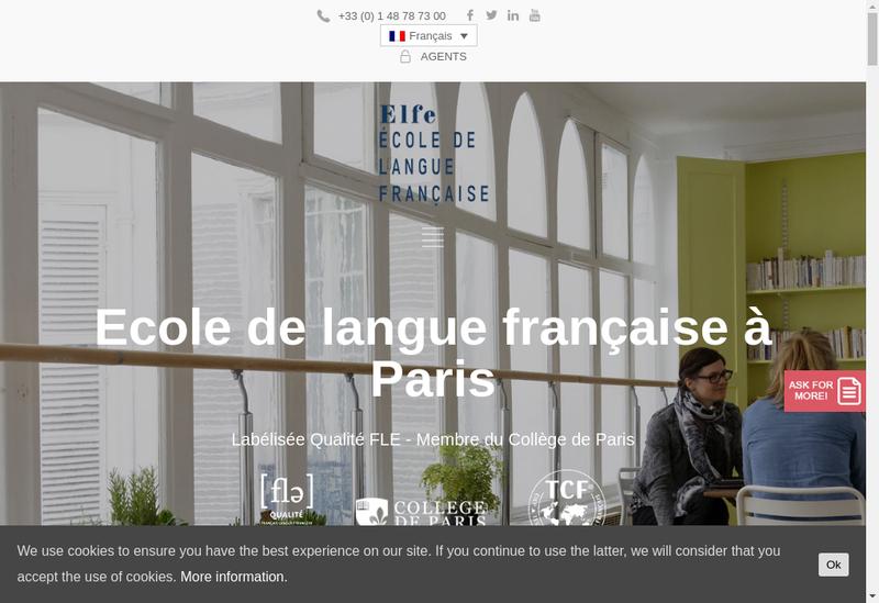 Capture d'écran du site de Ecole de Langue Francaise Pour Etrange