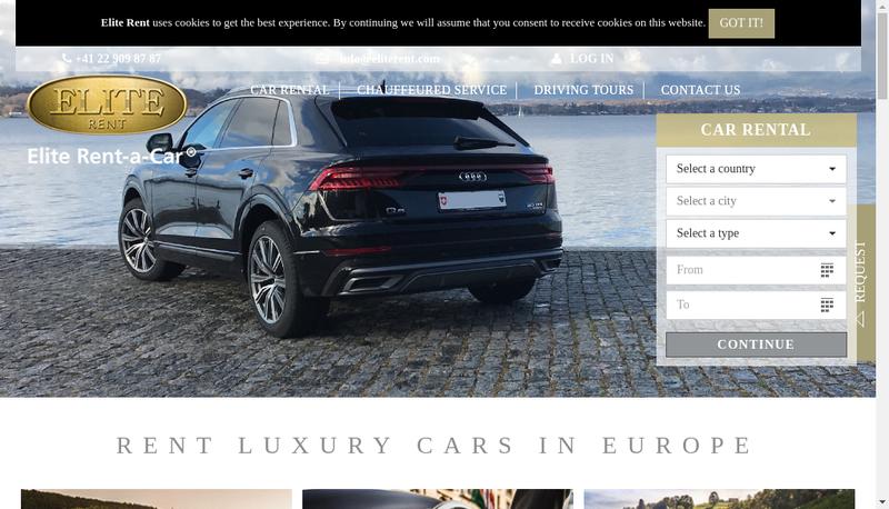 Capture d'écran du site de Elite Rent à Car