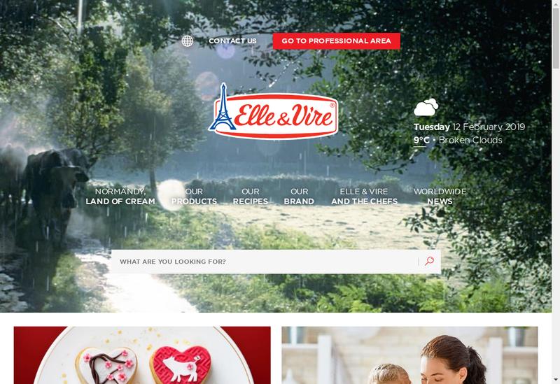 Capture d'écran du site de Elle & Vire Produits Laitiers