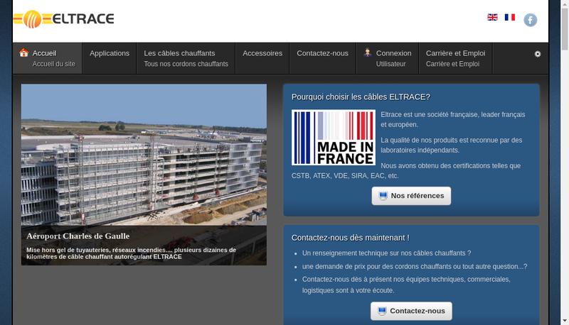 Capture d'écran du site de Eltrace