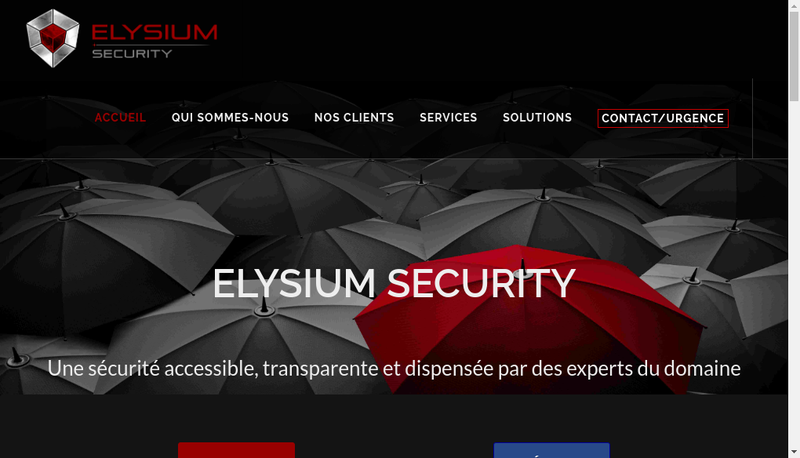Capture d'écran du site de Elysium Security