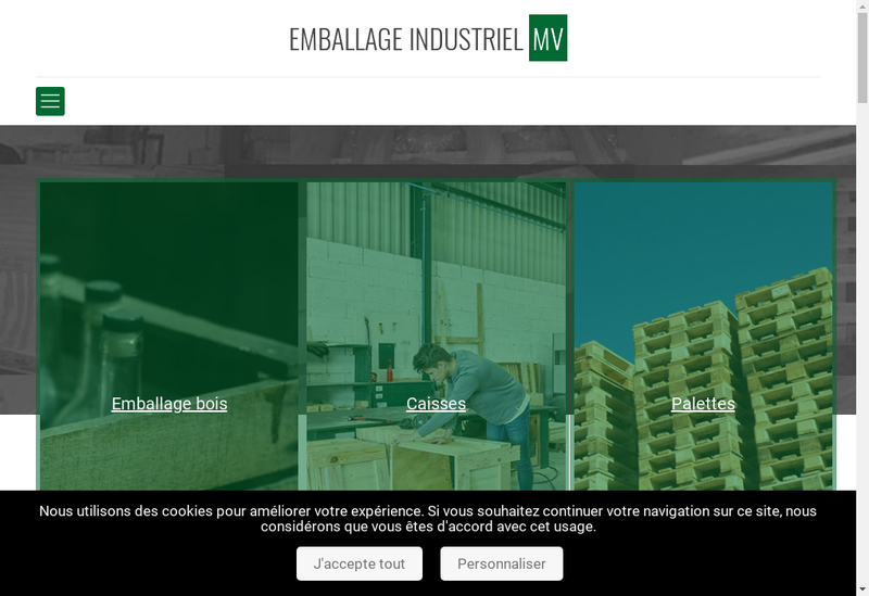 Capture d'écran du site de Emballages Industriels Mv