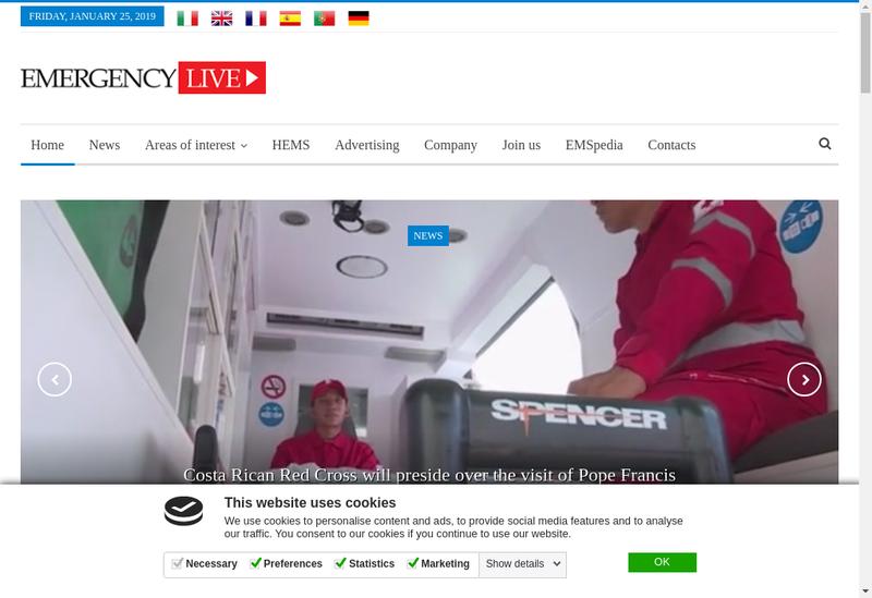 Capture d'écran du site de Emergency Live