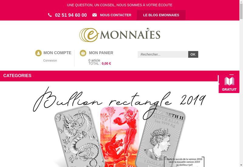 Capture d'écran du site de Monnaie Finances