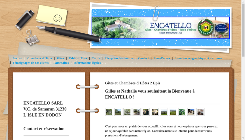 Capture d'écran du site de Encatello