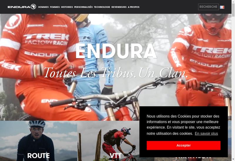 Capture d'écran du site de Endura