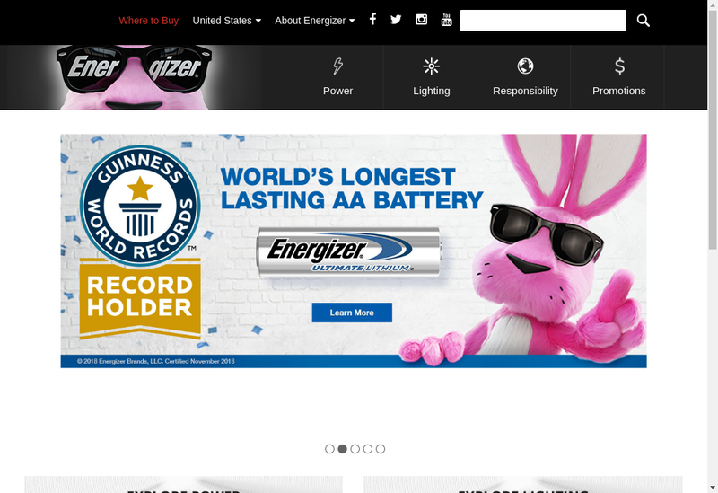 Capture d'écran du site de Energizer France