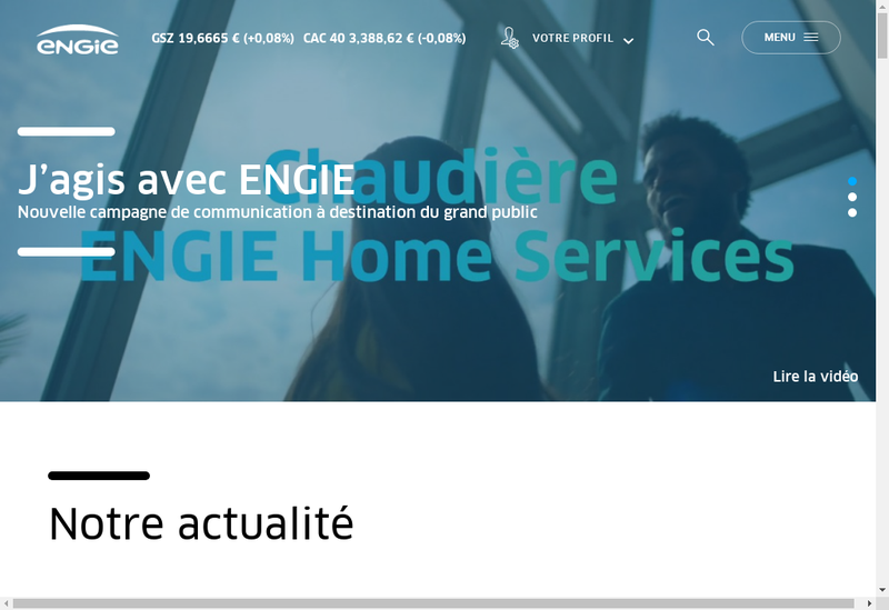 Capture d'écran du site de Engie