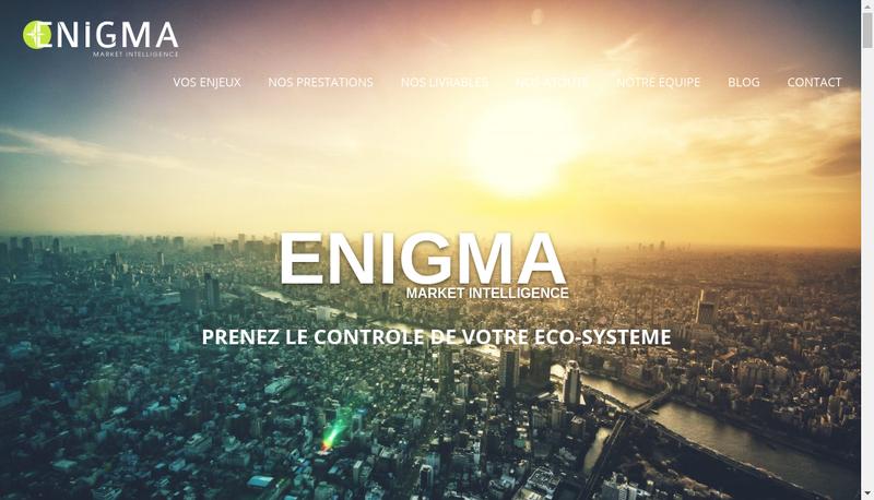 Capture d'écran du site de Enigma Market Intelligence