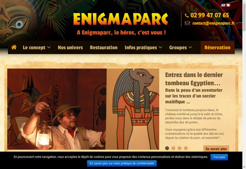 Capture d'écran du site de Enigmaparc