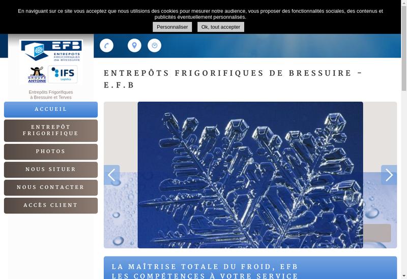 Capture d'écran du site de SA Entrepot Frigorifique de Bressuire