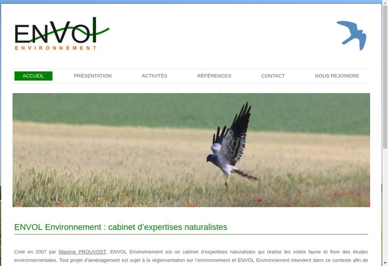 Capture d'écran du site de Envol Environnement