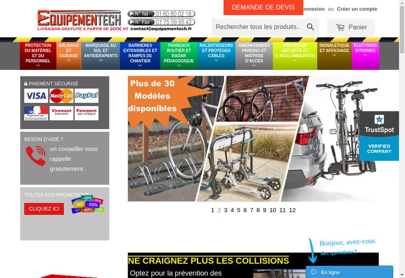 Capture d'écran du site de Equipementech