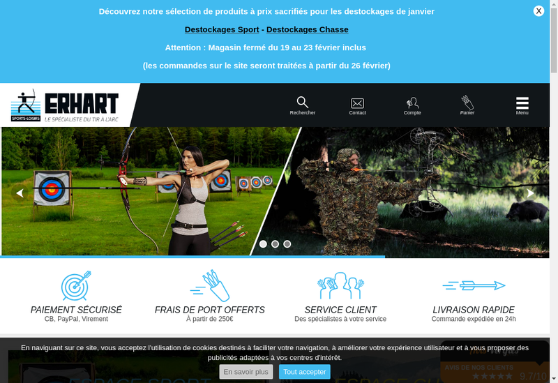 Capture d'écran du site de Erhart Sports et Loisirs