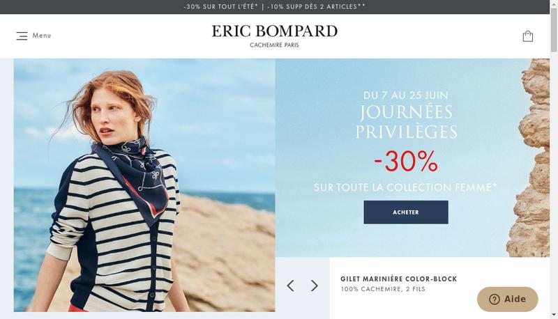 Capture d'écran du site de Eric Bompard Sa