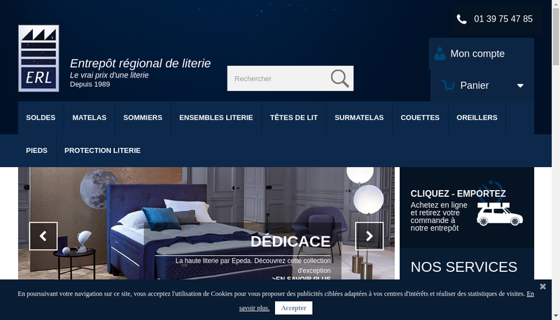 Capture d'écran du site de Entrepot Regional de Literie