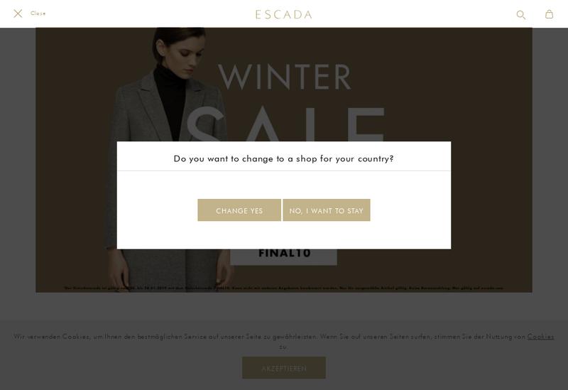 Capture d'écran du site de Escada France