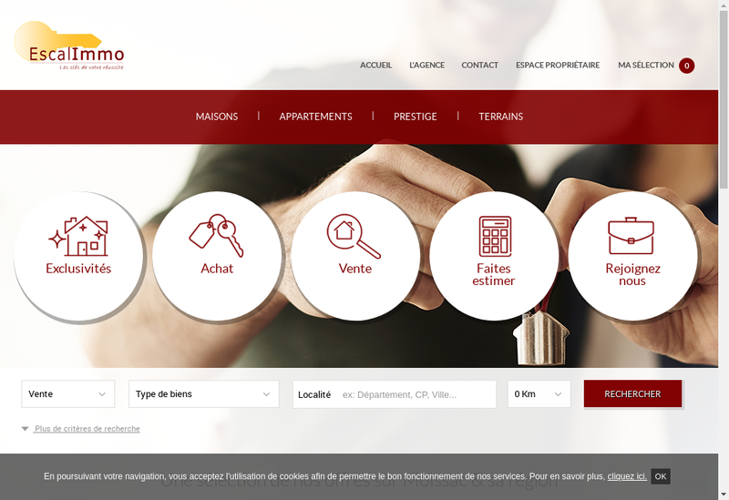 Capture d'écran du site de Escal Immo