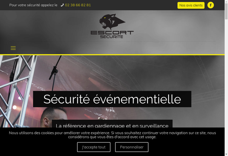 Capture d'écran du site de Escort Securite Privee SARL