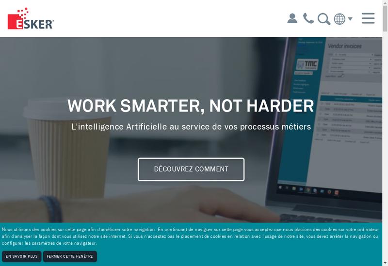 Capture d'écran du site de Esker