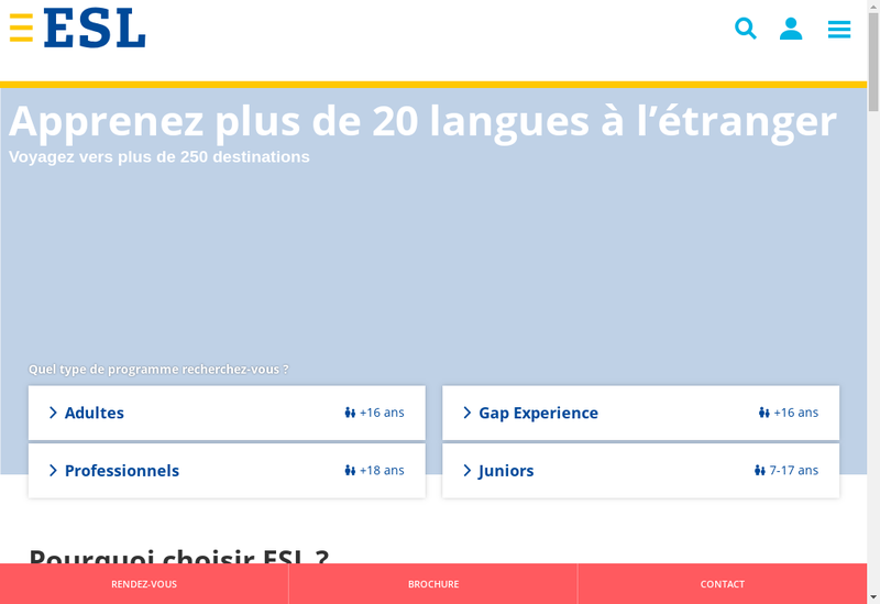 Capture d'écran du site de Esl Education SAS France