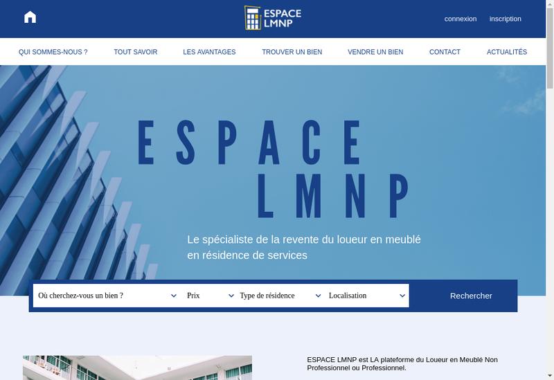 Capture d'écran du site de Espace Lmnp
