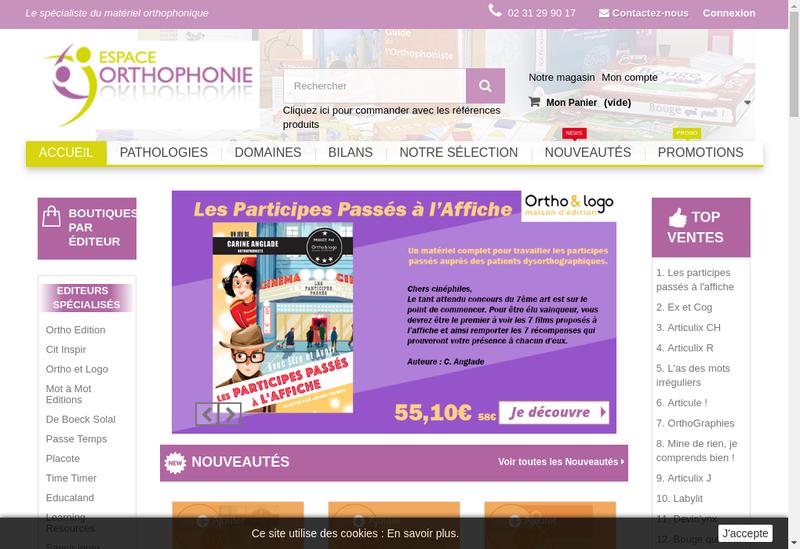 Capture d'écran du site de Espace Orthophonie