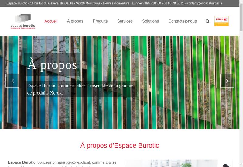 Capture d'écran du site de Espace Burotic