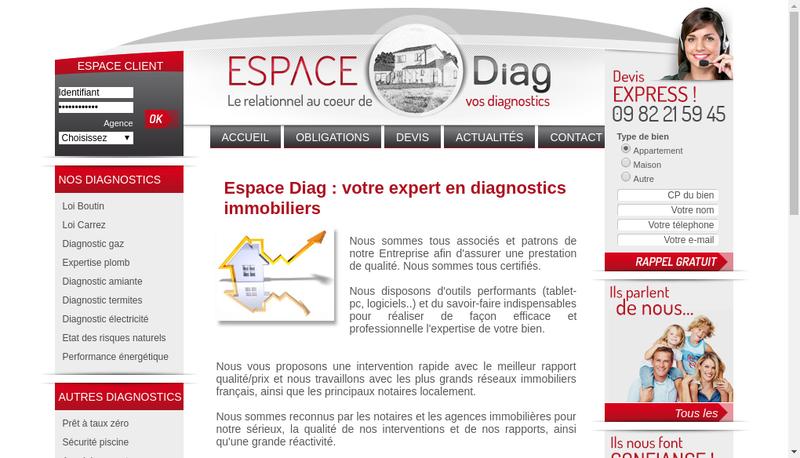 Capture d'écran du site de Espace Diag