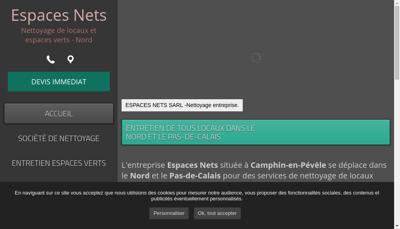 Capture d'écran du site de SARL Espaces Nets