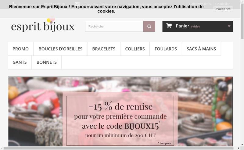 Capture d'écran du site de Esprit Bijoux